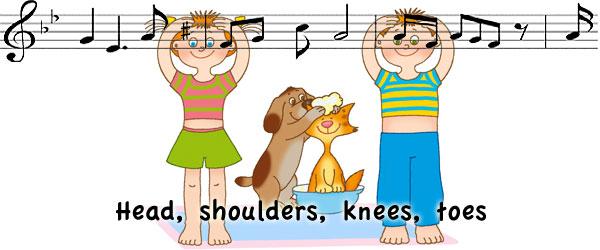 Head, shoulder, knees and toes - частушка ради детей получи и распишись английском
