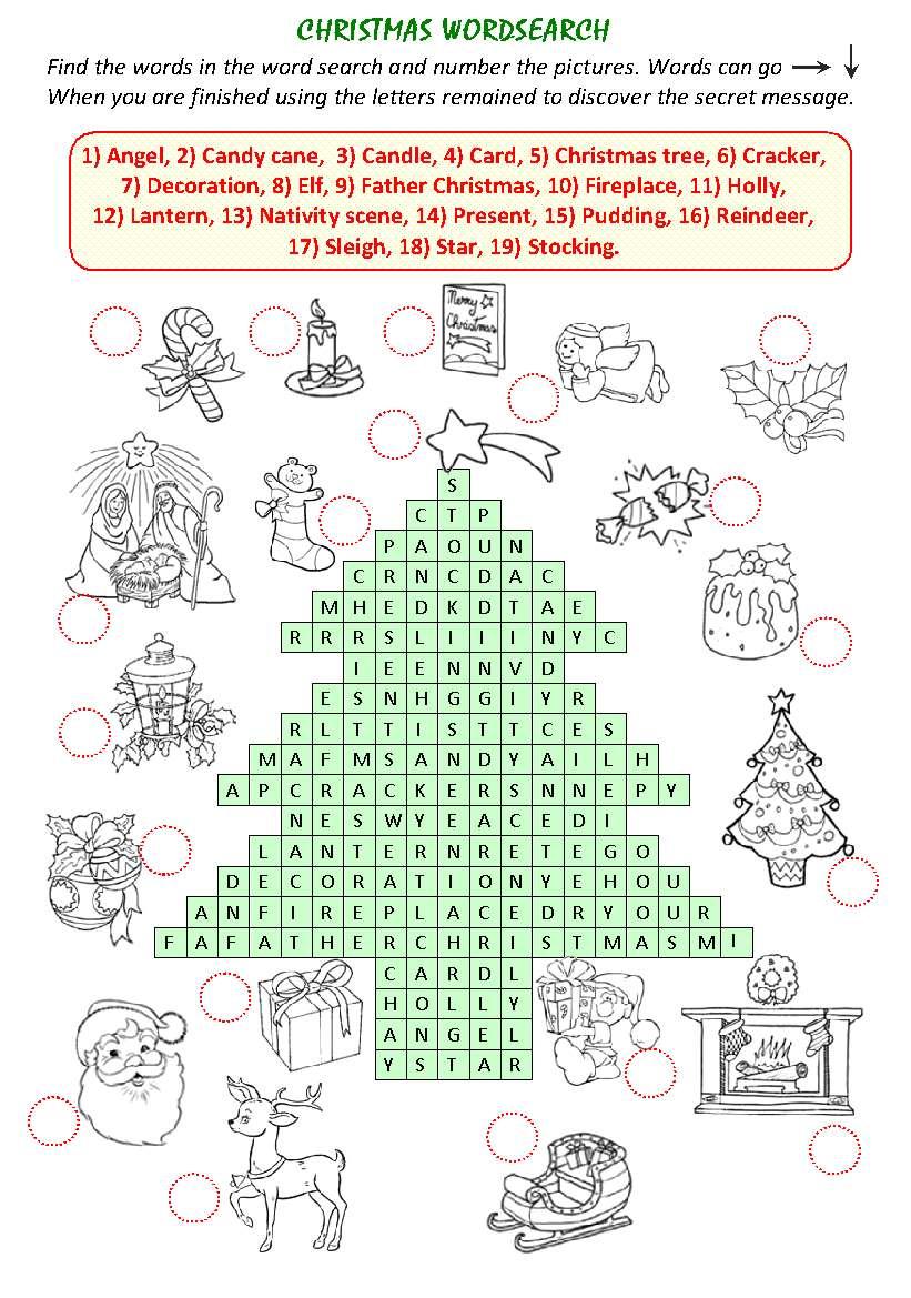 Christmas Wordsearch рождество игра найди слово на