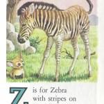 Карточки с английским алфавитом и стишками для детей: Z.