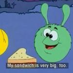 Gogo 36: My sandwich is very big, too.