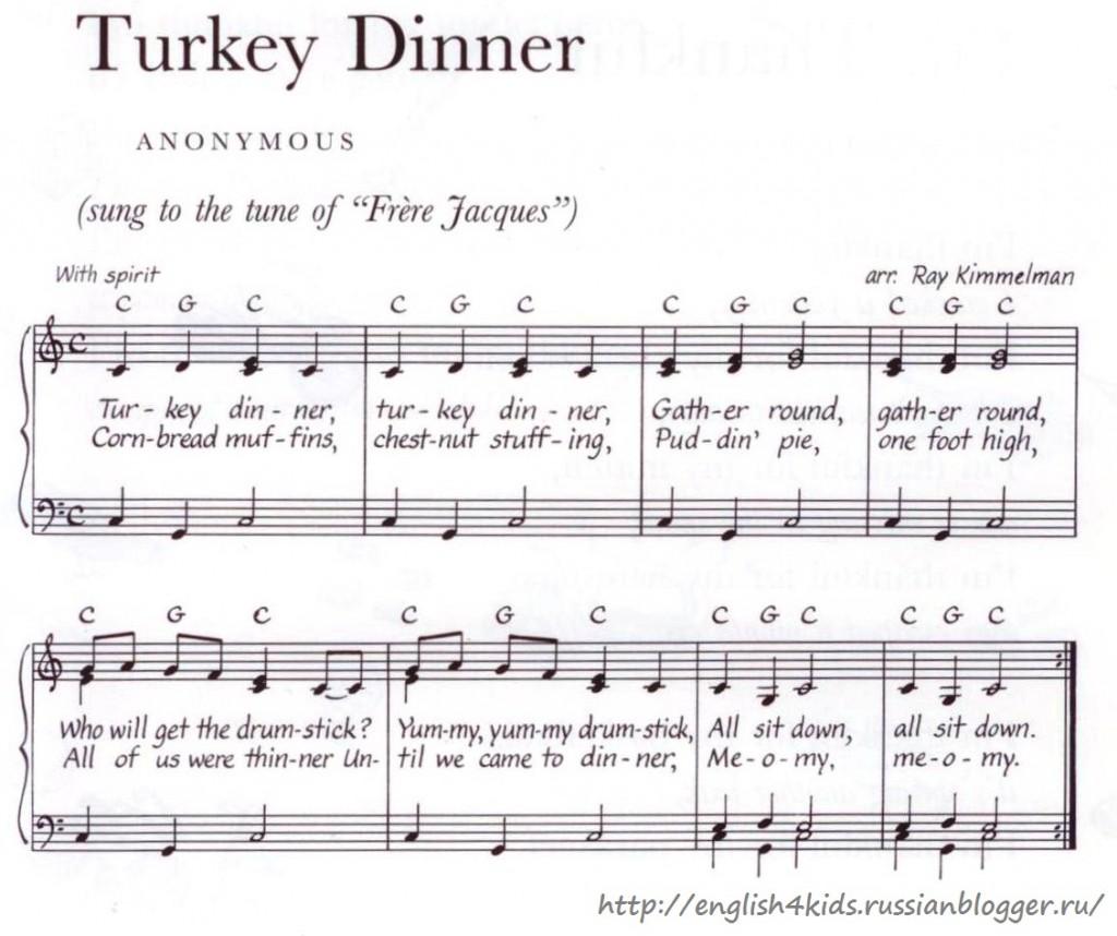 Ноты для песни Turkey dinner